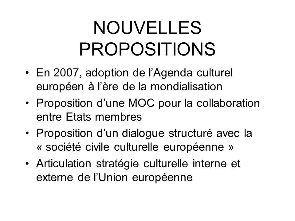 NOUVELLES PROPOSITIONS En 2007, adoption de lAgenda culturel européen à lère de la mondialisation Proposition dune MOC pour la collaboration entre Eta