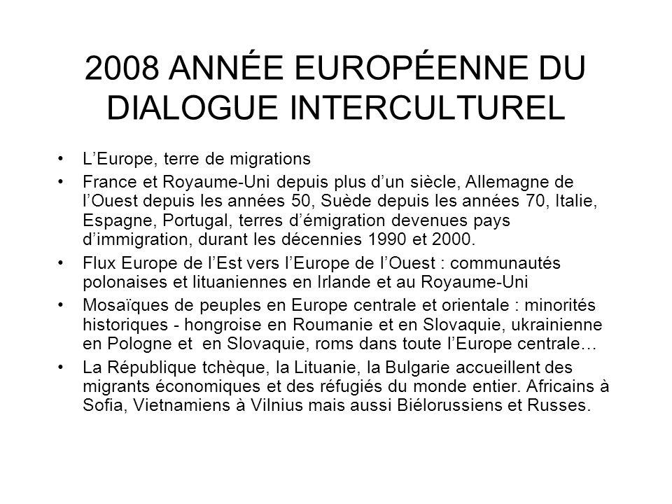 2008 ANNÉE EUROPÉENNE DU DIALOGUE INTERCULTUREL LEurope, terre de migrations France et Royaume-Uni depuis plus dun siècle, Allemagne de lOuest depuis