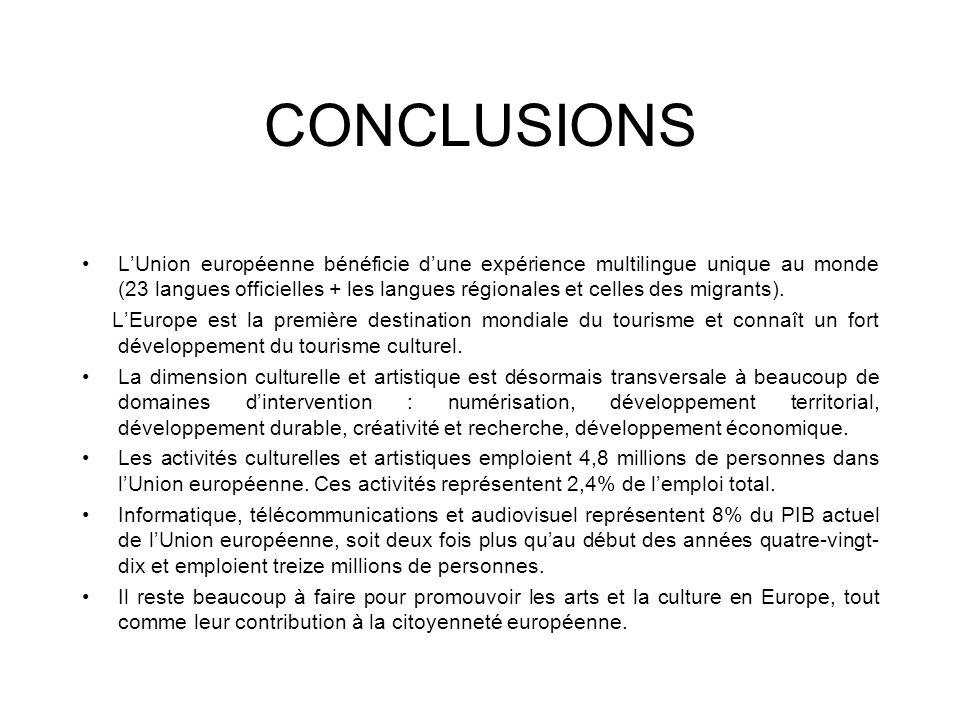 CONCLUSIONS LUnion européenne bénéficie dune expérience multilingue unique au monde (23 langues officielles + les langues régionales et celles des mig