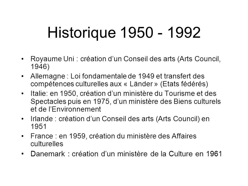 Historique 1950 - 1992 Royaume Uni : création dun Conseil des arts (Arts Council, 1946) Allemagne : Loi fondamentale de 1949 et transfert des compéten