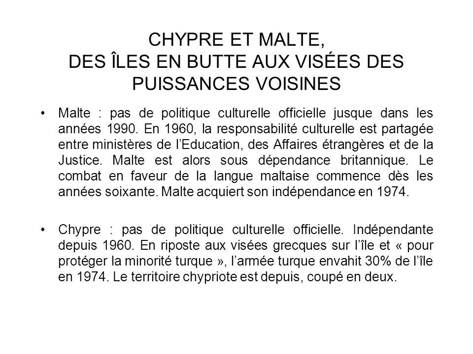 CHYPRE ET MALTE, DES ÎLES EN BUTTE AUX VISÉES DES PUISSANCES VOISINES Malte : pas de politique culturelle officielle jusque dans les années 1990. En 1