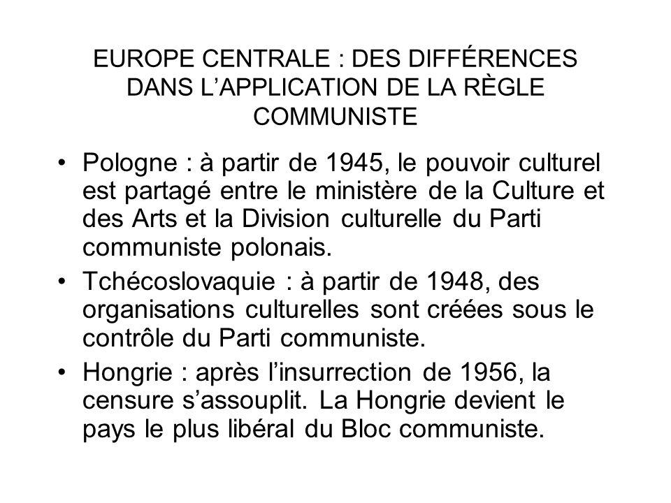 EUROPE CENTRALE : DES DIFFÉRENCES DANS LAPPLICATION DE LA RÈGLE COMMUNISTE Pologne : à partir de 1945, le pouvoir culturel est partagé entre le minist