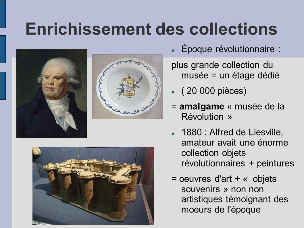 Enrichissement des collections Époque révolutionnaire : plus grande collection du musée = un étage dédié ( 20 000 pièces) = amalgame « musée de la Rév