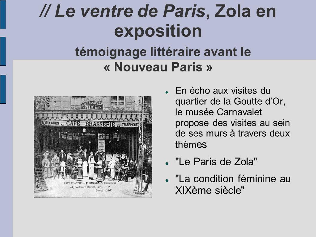 // Le ventre de Paris, Zola en exposition témoignage littéraire avant le « Nouveau Paris » En écho aux visites du quartier de la Goutte dOr, le musée