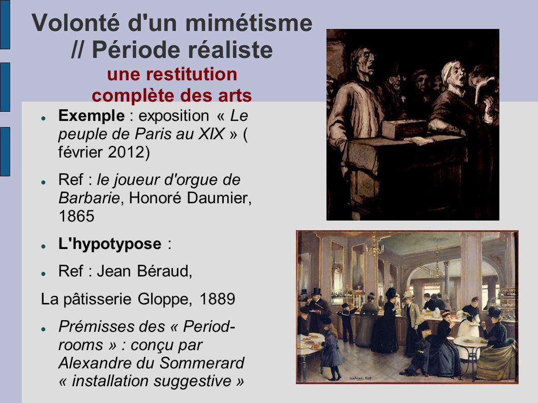 Volonté d'un mimétisme // Période réaliste une restitution complète des arts Exemple : exposition « Le peuple de Paris au XIX » ( février 2012) Ref :