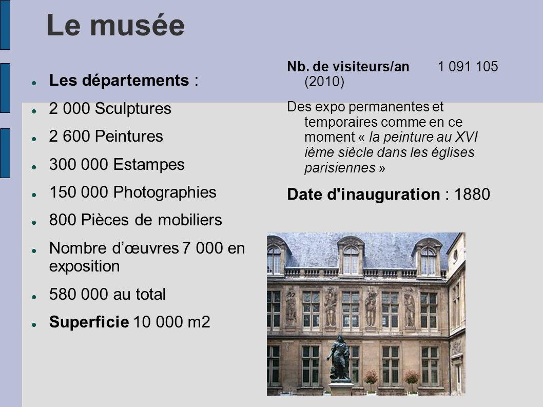 Le musée Les départements : 2 000 Sculptures 2 600 Peintures 300 000 Estampes 150 000 Photographies 800 Pièces de mobiliers Nombre dœuvres7 000 en exp