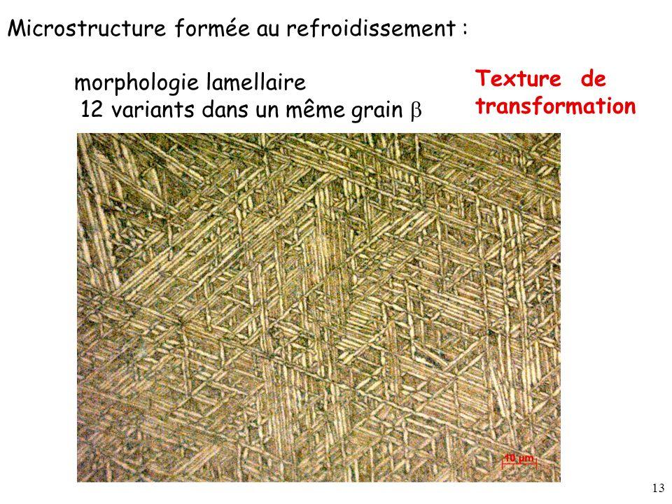 13 Microstructure formée au refroidissement : morphologie lamellaire 12 variants dans un même grain Texture de transformation