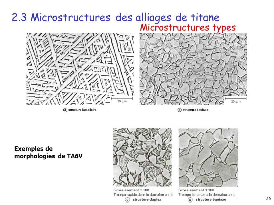 26 Exemples de morphologies de TA6V 2.3 Microstructures des alliages de titane Microstructures types