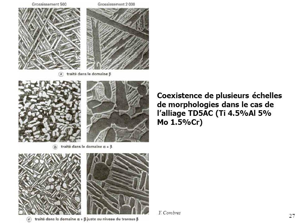 27 Coexistence de plusieurs échelles de morphologies dans le cas de lalliage TD5AC (Ti 4.5%Al 5% Mo 1.5%Cr) Y.
