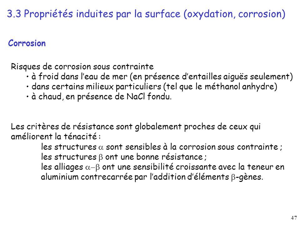 47 Corrosion Risques de corrosion sous contrainte à froid dans leau de mer (en présence dentailles aiguës seulement) dans certains milieux particuliers (tel que le méthanol anhydre) à chaud, en présence de NaCl fondu.