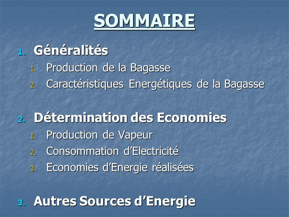 SOMMAIRE 1.Généralités 1. Production de la Bagasse 2.