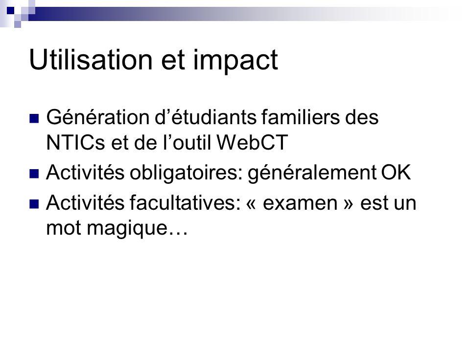 Utilisation et impact Génération détudiants familiers des NTICs et de loutil WebCT Activités obligatoires: généralement OK Activités facultatives: « examen » est un mot magique…