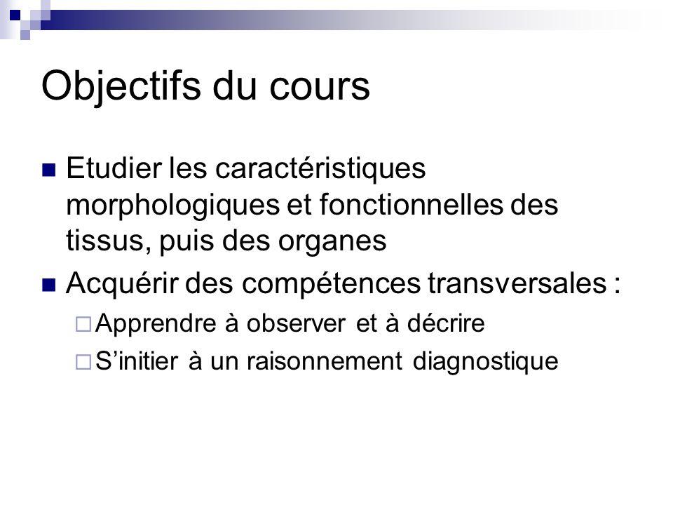 Objectifs du cours Etudier les caractéristiques morphologiques et fonctionnelles des tissus, puis des organes Acquérir des compétences transversales : Apprendre à observer et à décrire Sinitier à un raisonnement diagnostique