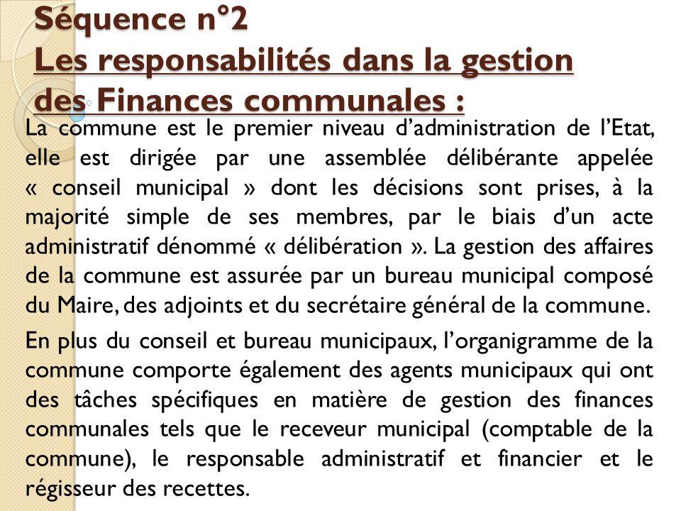 Séquence n°2 Les responsabilités dans la gestion des Finances communales : Séquence n°2 Les responsabilités dans la gestion des Finances communales :