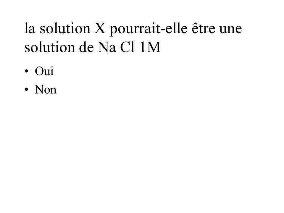 la solution X pourrait-elle être une solution de Na Cl 1M Oui Non