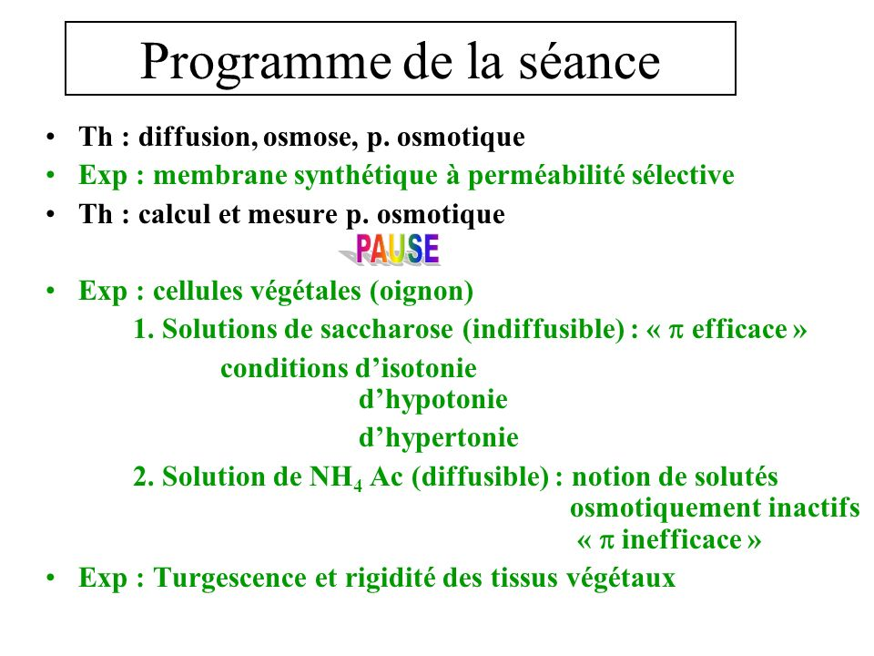 Séance 3 OSMOSE 200253 LOsmose : milieu hypertonique 21