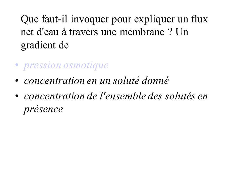 Que faut-il invoquer pour expliquer un flux net d eau à travers une membrane .