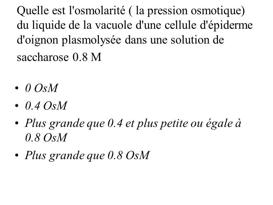 Quelle est l osmolarité ( la pression osmotique) du liquide de la vacuole d une cellule d épiderme d oignon plasmolysée dans une solution de saccharose 0.8 M 0 OsM 0.4 OsM Plus grande que 0.4 et plus petite ou égale à 0.8 OsM Plus grande que 0.8 OsM