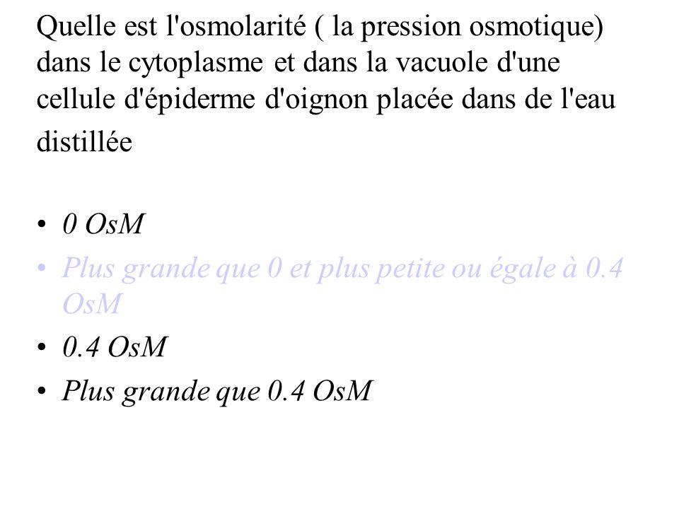 Quelle est l osmolarité ( la pression osmotique) dans le cytoplasme et dans la vacuole d une cellule d épiderme d oignon placée dans de l eau distillée 0 OsM Plus grande que 0 et plus petite ou égale à 0.4 OsM 0.4 OsM Plus grande que 0.4 OsM