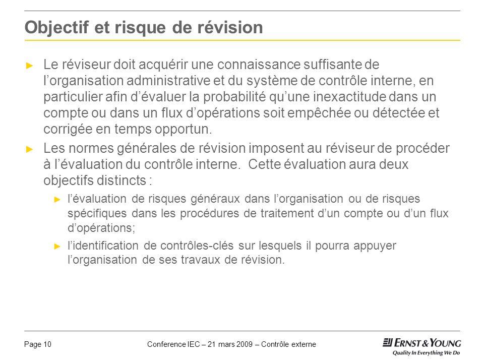 Conference IEC – 21 mars 2009 – Contrôle externePage 10 Objectif et risque de révision Le réviseur doit acquérir une connaissance suffisante de lorgan