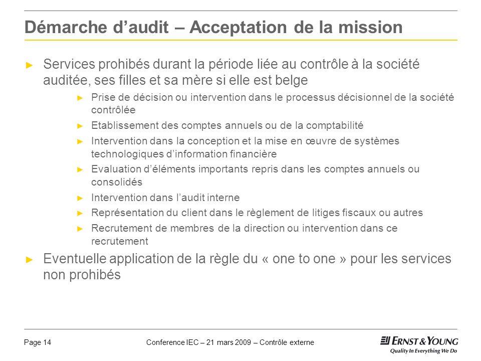 Conference IEC – 21 mars 2009 – Contrôle externePage 14 Démarche daudit – Acceptation de la mission Services prohibés durant la période liée au contrô