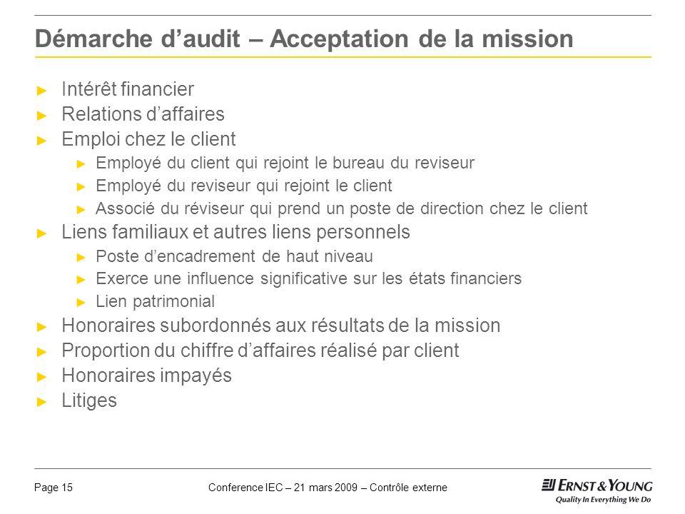 Conference IEC – 21 mars 2009 – Contrôle externePage 15 Démarche daudit – Acceptation de la mission Intérêt financier Relations daffaires Emploi chez