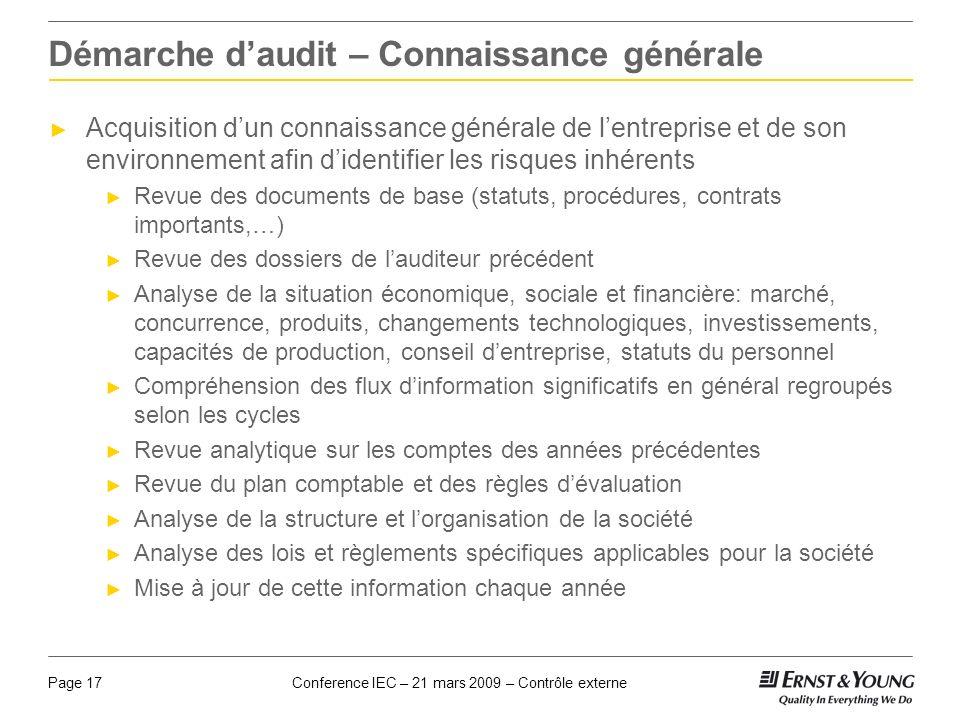 Conference IEC – 21 mars 2009 – Contrôle externePage 17 Démarche daudit – Connaissance générale Acquisition dun connaissance générale de lentreprise e