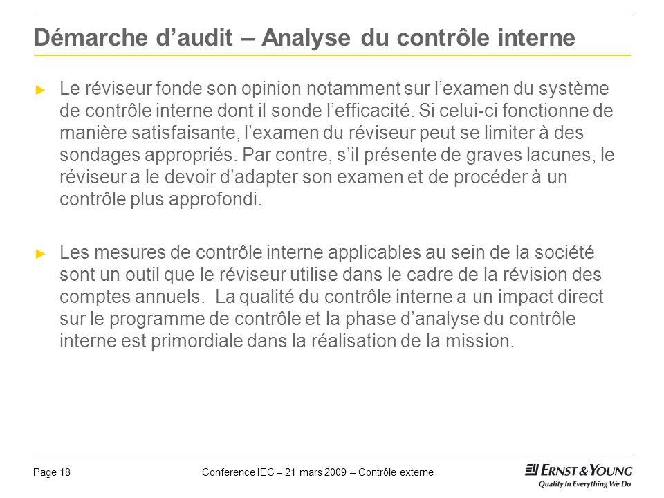 Conference IEC – 21 mars 2009 – Contrôle externePage 18 Démarche daudit – Analyse du contrôle interne Le réviseur fonde son opinion notamment sur lexa