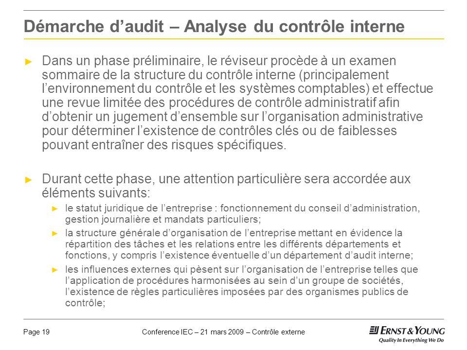 Conference IEC – 21 mars 2009 – Contrôle externePage 19 Démarche daudit – Analyse du contrôle interne Dans un phase préliminaire, le réviseur procède