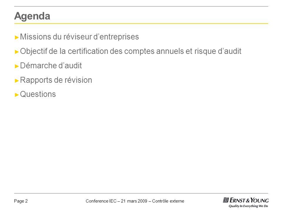 Conference IEC – 21 mars 2009 – Contrôle externePage 2 Agenda Missions du réviseur dentreprises Objectif de la certification des comptes annuels et ri