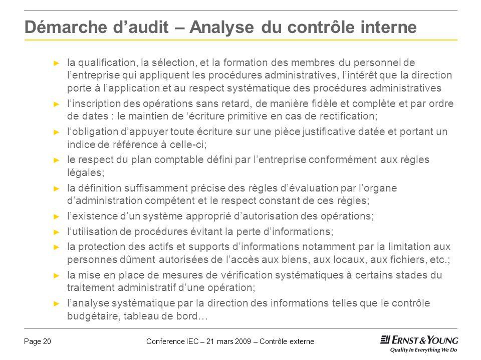 Conference IEC – 21 mars 2009 – Contrôle externePage 20 Démarche daudit – Analyse du contrôle interne la qualification, la sélection, et la formation