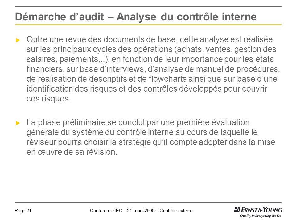 Conference IEC – 21 mars 2009 – Contrôle externePage 21 Démarche daudit – Analyse du contrôle interne Outre une revue des documents de base, cette ana