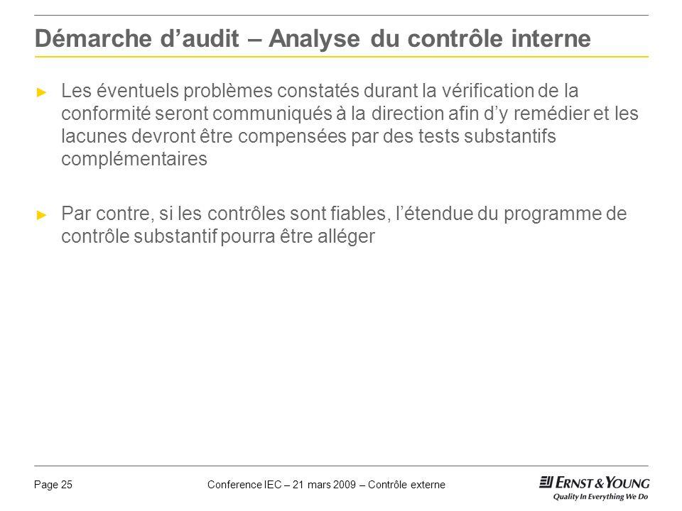 Conference IEC – 21 mars 2009 – Contrôle externePage 25 Démarche daudit – Analyse du contrôle interne Les éventuels problèmes constatés durant la véri