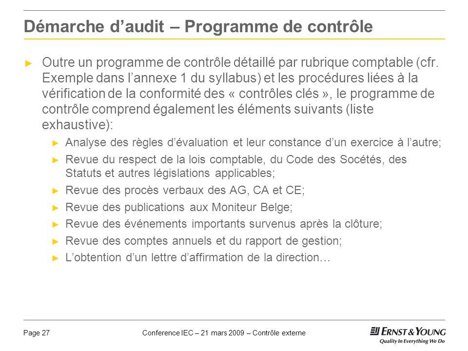 Conference IEC – 21 mars 2009 – Contrôle externePage 27 Démarche daudit – Programme de contrôle Outre un programme de contrôle détaillé par rubrique c