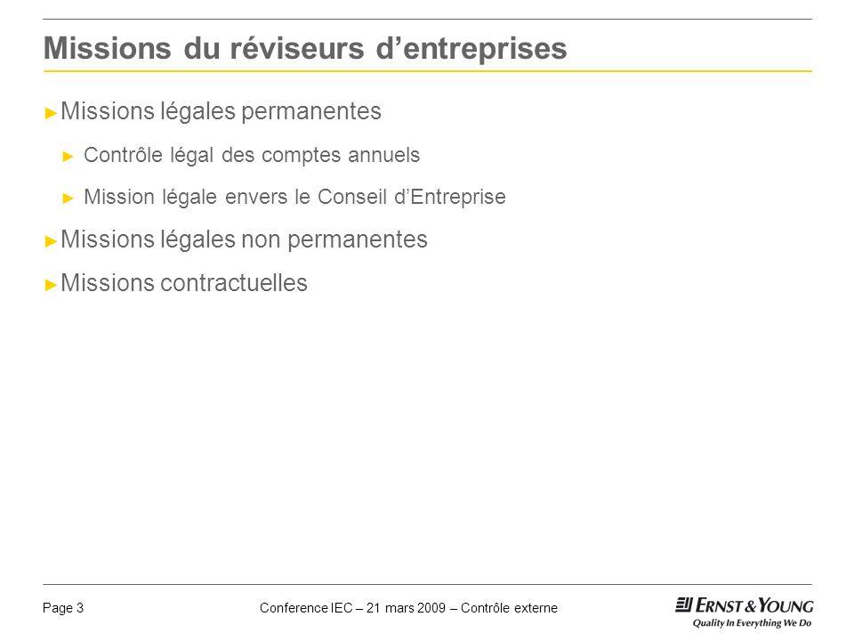 Conference IEC – 21 mars 2009 – Contrôle externePage 3 Missions du réviseurs dentreprises Missions légales permanentes Contrôle légal des comptes annu