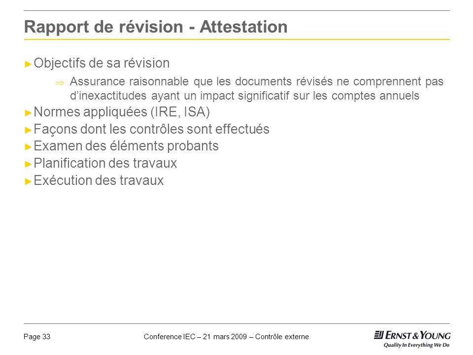 Conference IEC – 21 mars 2009 – Contrôle externePage 33 Rapport de révision - Attestation Objectifs de sa révision Assurance raisonnable que les docum