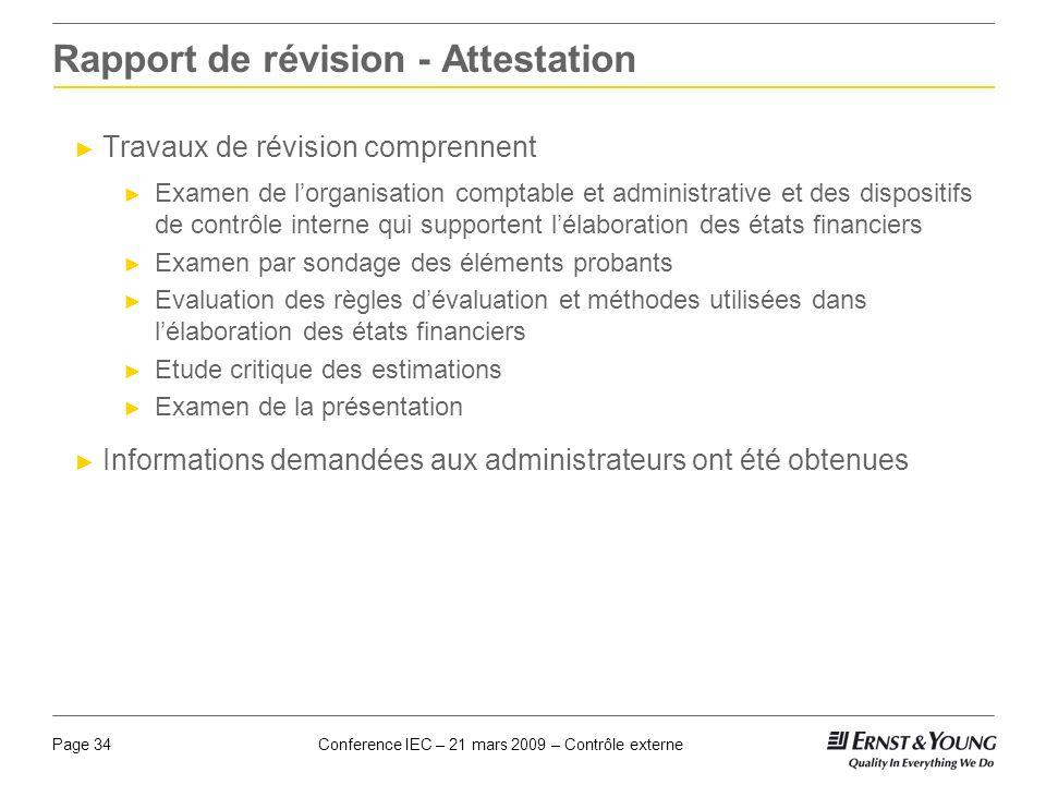 Conference IEC – 21 mars 2009 – Contrôle externePage 34 Rapport de révision - Attestation Travaux de révision comprennent Examen de lorganisation comp