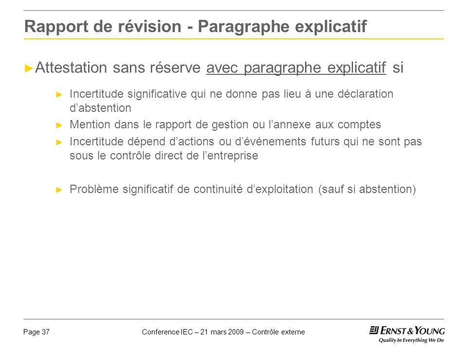Conference IEC – 21 mars 2009 – Contrôle externePage 37 Rapport de révision - Paragraphe explicatif Attestation sans réserve avec paragraphe explicati