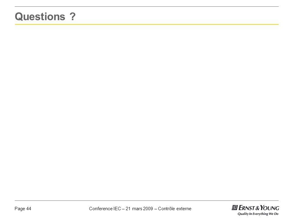 Conference IEC – 21 mars 2009 – Contrôle externePage 44 Questions ?