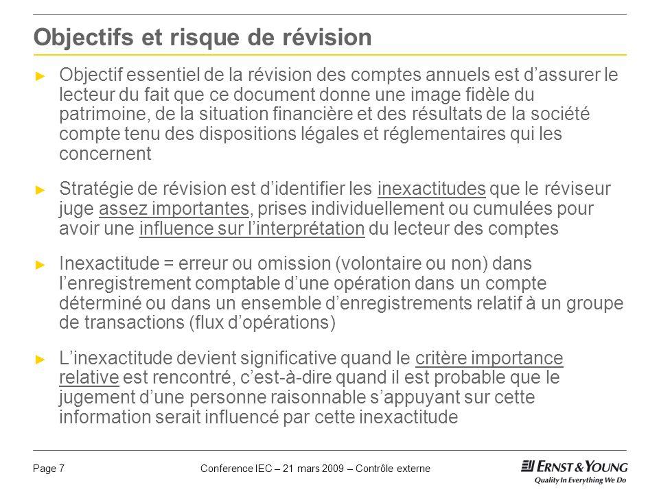 Conference IEC – 21 mars 2009 – Contrôle externePage 7 Objectifs et risque de révision Objectif essentiel de la révision des comptes annuels est dassu