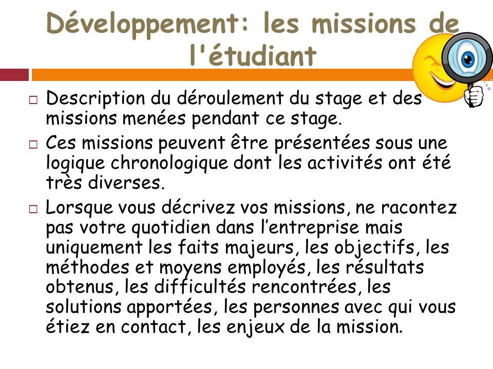 Développement: les missions de l étudiant Description du déroulement du stage et des missions menées pendant ce stage.