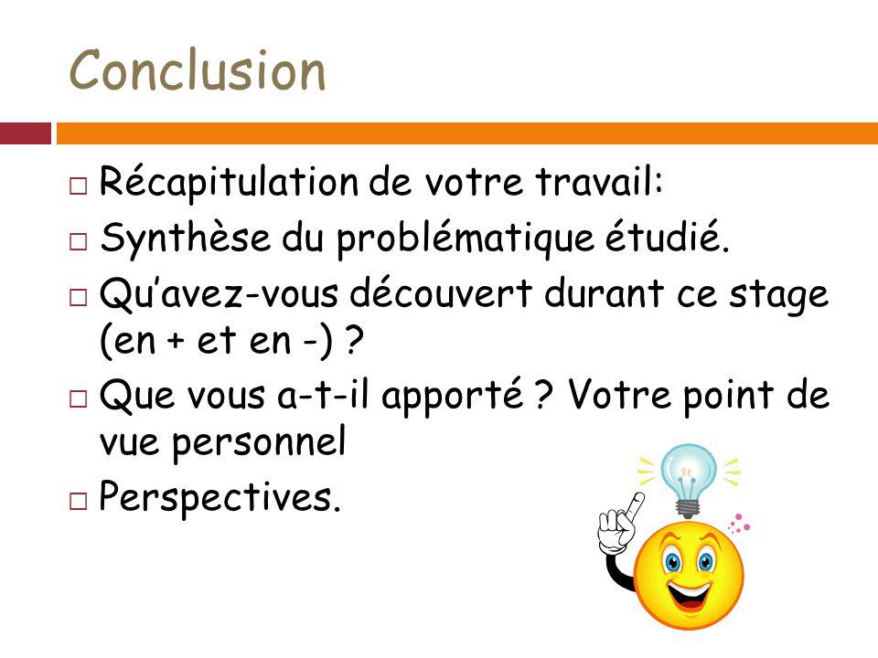 Conclusion Récapitulation de votre travail: Synthèse du problématique étudié.