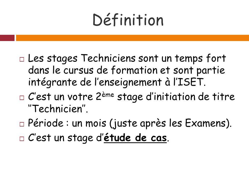 Définition Les stages Techniciens sont un temps fort dans le cursus de formation et sont partie intégrante de lenseignement à lISET.