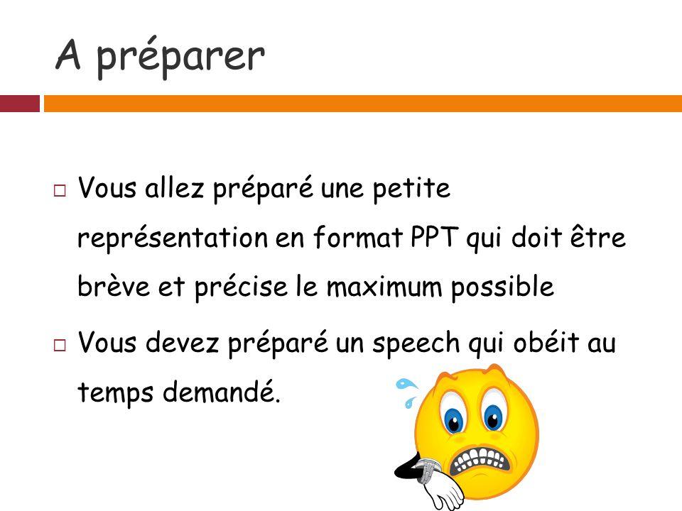 A préparer Vous allez préparé une petite représentation en format PPT qui doit être brève et précise le maximum possible Vous devez préparé un speech qui obéit au temps demandé.