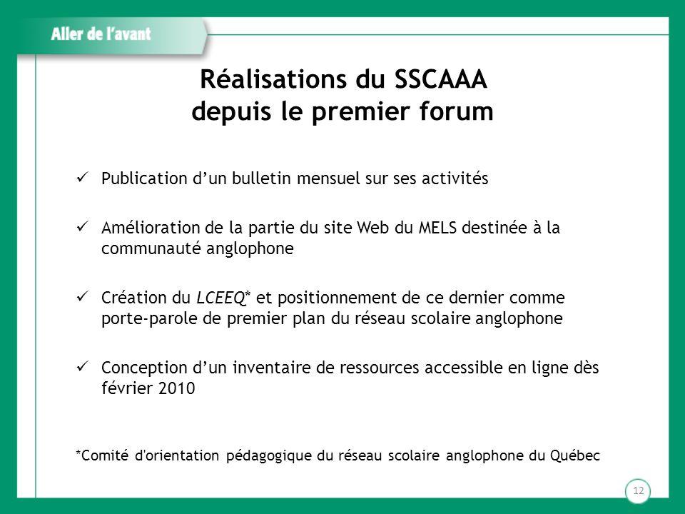 Réalisations du SSCAAA depuis le premier forum Publication dun bulletin mensuel sur ses activités Amélioration de la partie du site Web du MELS destin