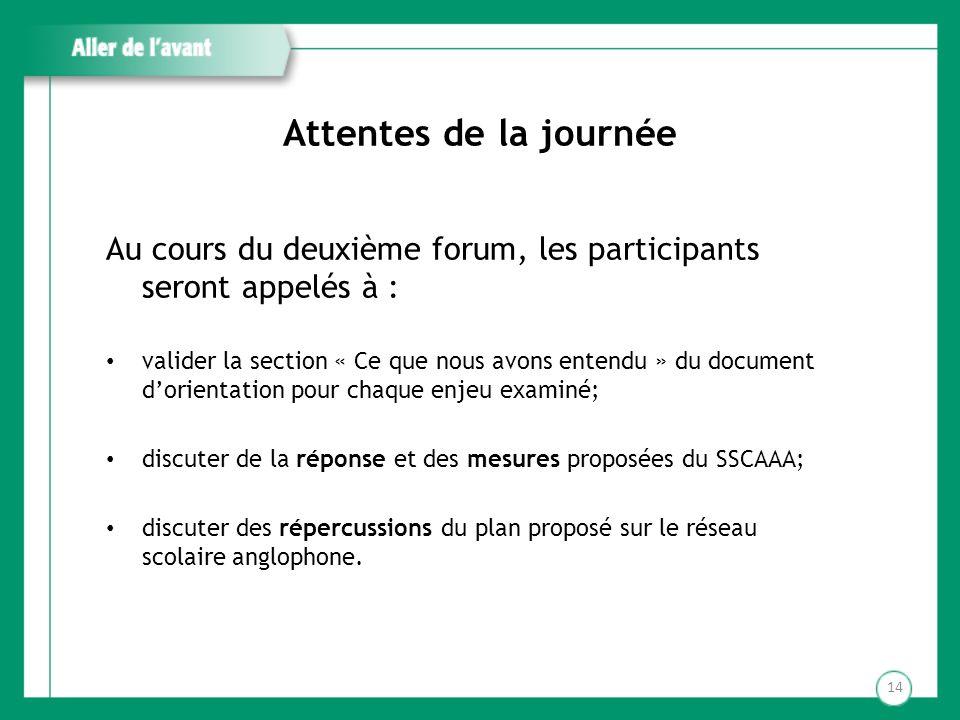 Attentes de la journée Au cours du deuxième forum, les participants seront appelés à : valider la section « Ce que nous avons entendu » du document do