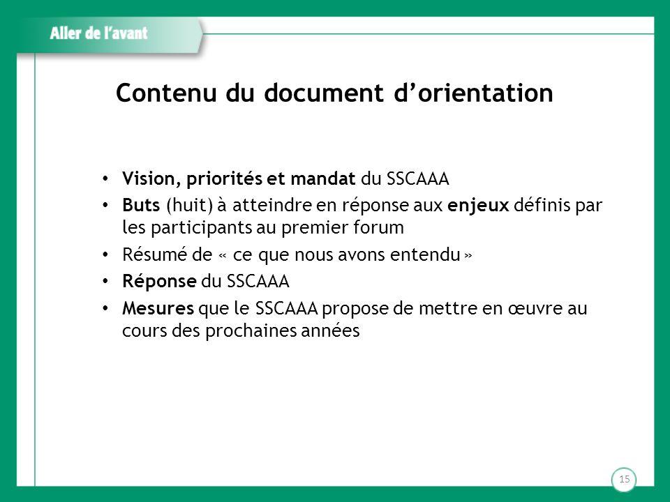 Contenu du document dorientation Vision, priorités et mandat du SSCAAA Buts (huit) à atteindre en réponse aux enjeux définis par les participants au p