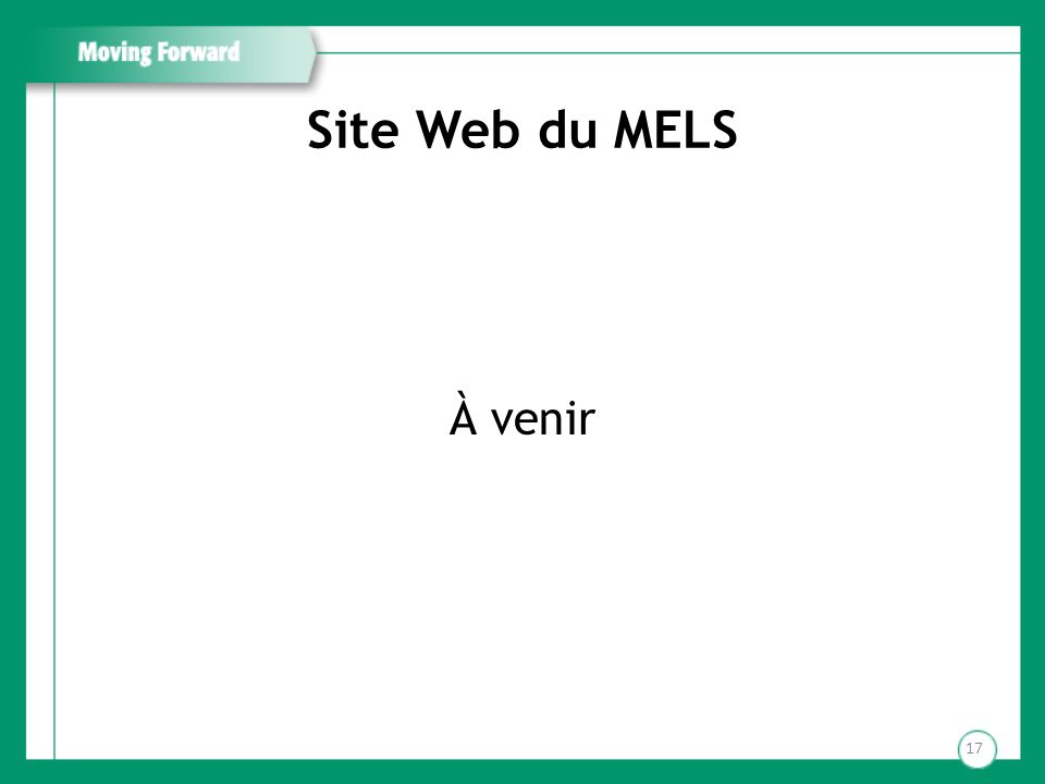 Site Web du MELS À venir 17
