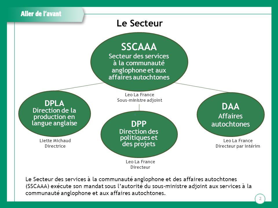 Aller de l avant But du deuxième forum Établir un nouveau cadre de collaboration entre le SSCAAA, les autres secteurs du Ministère et le réseau scolaire anglophone en faveur de la mise en œuvre des politiques et orientations ministérielles dans les écoles et centres du secteur anglophone.