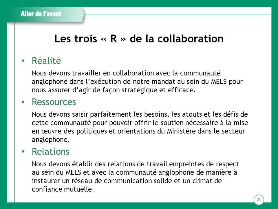 Les trois « R » de la collaboration Réalité Nous devons travailler en collaboration avec la communauté anglophone dans lexécution de notre mandat au s